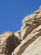 Rock Climbing Photo: Dave Wayne in the crux of the 5.8 variation the th...