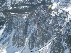Rock Climbing Photo: Topo of how we pitched out the route.  First and l...