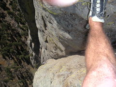 Rock Climbing Photo: Looking down TAD from 3/4 of the way up  the secon...