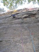 Rock Climbing Photo: P1 of Morning After.  From where the climber is he...