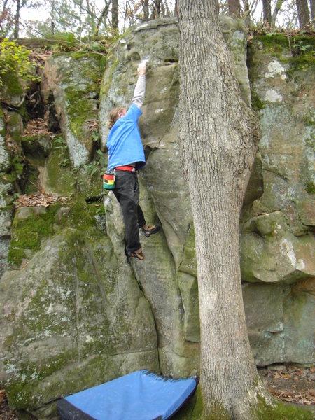 Rock Climbing Photo: Vinny on the throw.