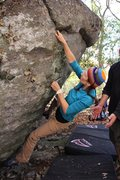 Rock Climbing Photo: New beta for Biggie Good since the undercling brok...