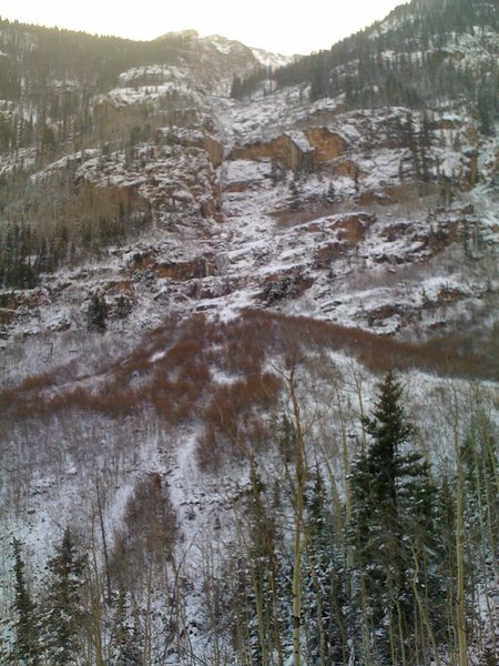 Rock Climbing Photo: The whole climb as seen from the road. You can see...