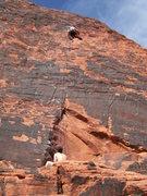 Rock Climbing Photo: Serica leading Technicolor Sunrise (June 07)