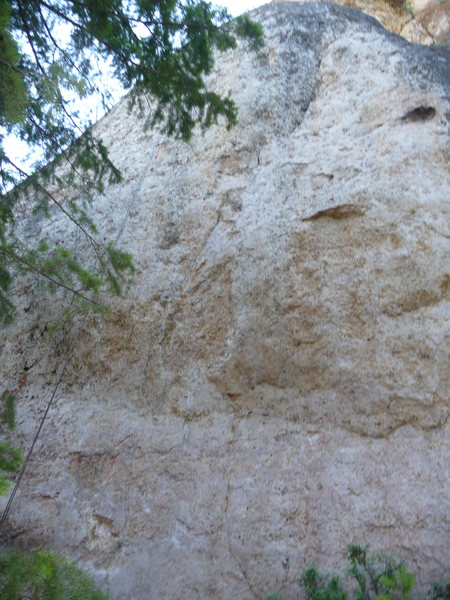 the only climb on the wall follows a shallow crack system