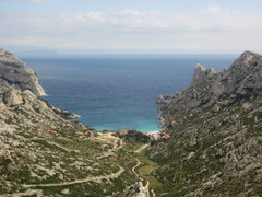 Rock Climbing Photo: Looking down the steep road to Sormiou.