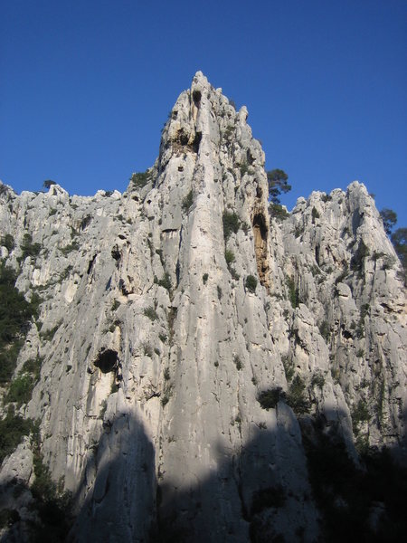 Super Sirene, an absolute classic route and a feat ahead of its time.  This three pitch undertaking follows the striking and elegant pillar.  FA, 1941, Gaston Rebuffat and Paul Geurin.