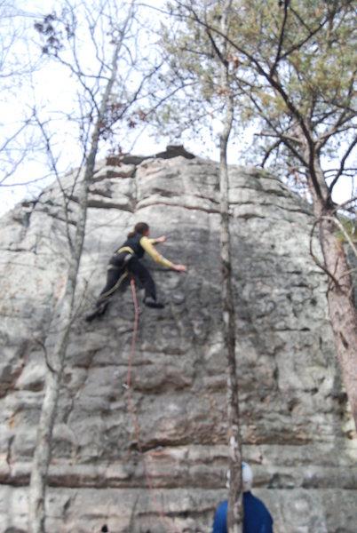 Paige climbing.