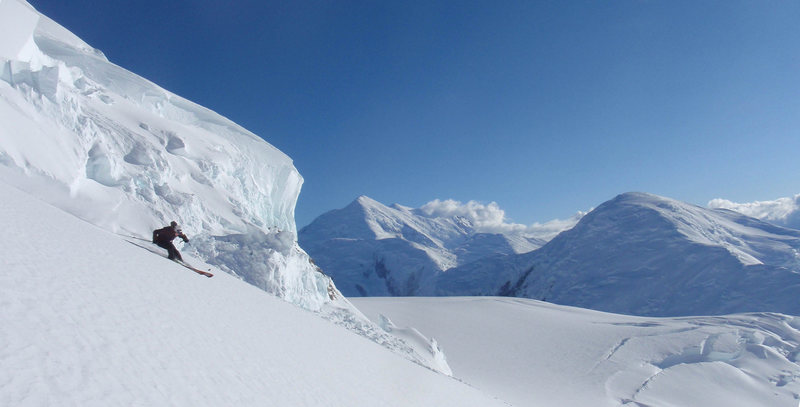 Rock Climbing Photo: Skiing on Denali - the fast way down!