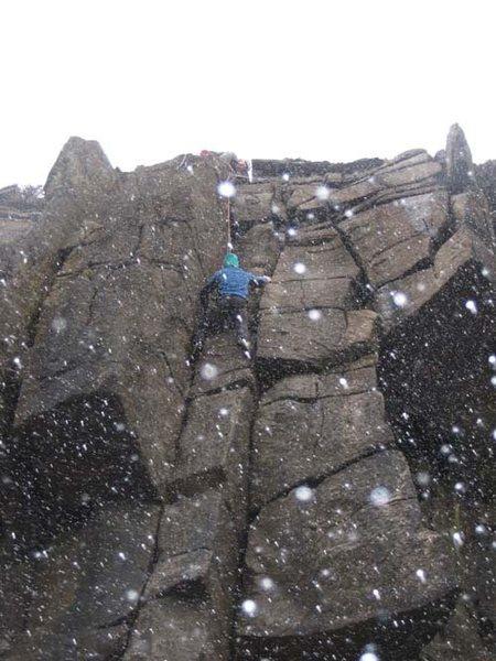Rock Climbing Photo: Finishing Twin Crack Corner in a snowstorm (photo ...