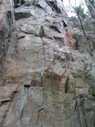 Rock Climbing Photo: Base of route. Dihedral is on far left. Bolted, co...