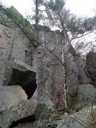 Rock Climbing Photo: New bolted route is between the 2 trees on left.Sh...