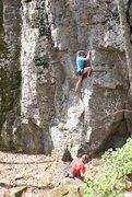 Rock Climbing Photo: Going shoeless on an easy top rope route on the co...