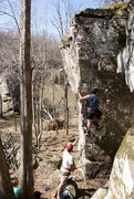 Rock Climbing Photo: Short 2 bolter with a good chance of hitting the g...
