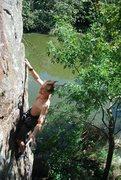 Rock Climbing Photo: Taking a quick rest on Ripple Boulder Arete, 10c.