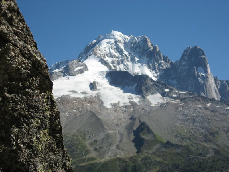 "View from the base of the ""aiguillette."" The Aiguille Verte and the Drus are in the background."