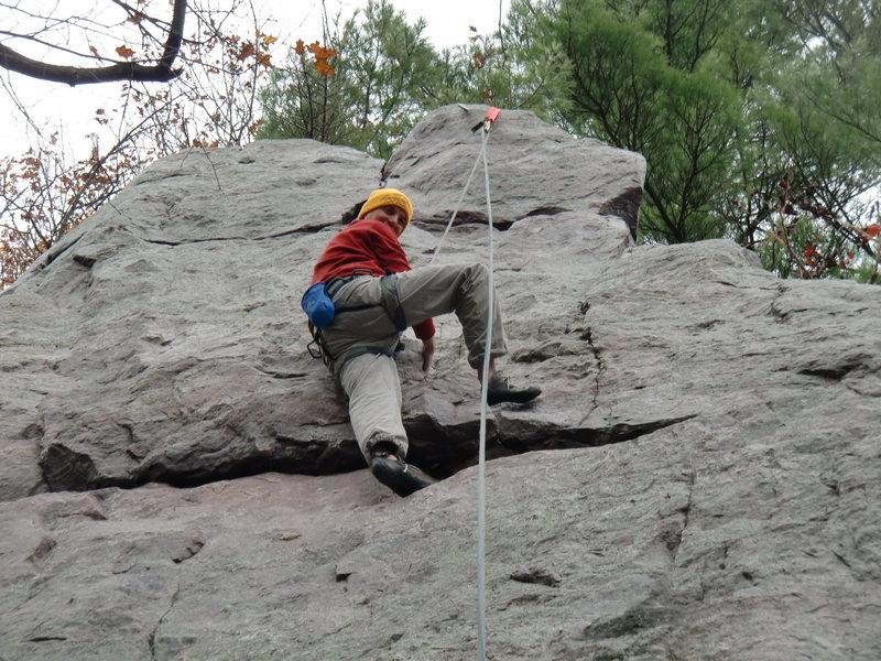 Rock Climbing Photo: Gratuitous heel hook on Iron Maiden.