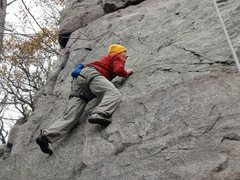 Rock Climbing Photo: Crimpin on Iron Maiden