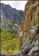 Rock Climbing Photo: Greg getting into the steep and slanting upper cra...