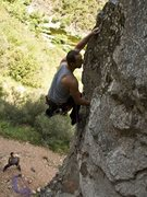 Rock Climbing Photo: entering the crux sequence on Percussion