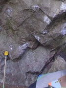 Rock Climbing Photo: Start on the chalked hold right of brush.
