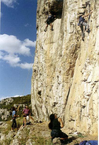 The climber on the left is climbing &quot;Buyuk Balkon&quot;, the other one is on &quot;Russel'in Mahkemesi.&quot;<br> The corner just left of Russel is Ilk Kan.