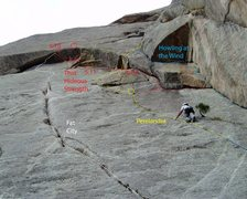 Rock Climbing Photo: Topo showing That Hideous Strength (red) and its r...