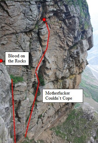 Rock Climbing Photo: Topo for Blood on the Rocks
