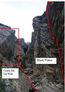Rock Climbing Photo: Black Widow seen from below on the right, and Crac...
