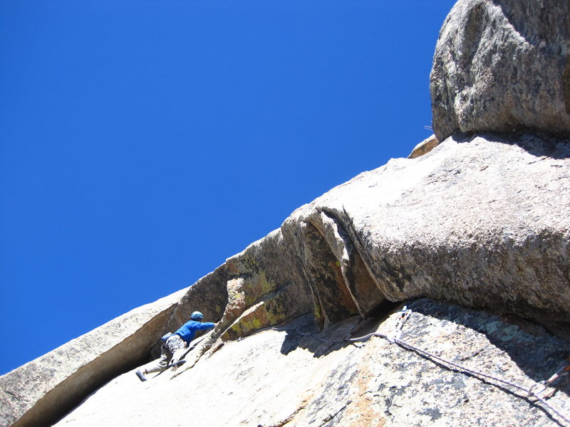 Rock Climbing Photo: Bernard at the minor stance between the two hard s...