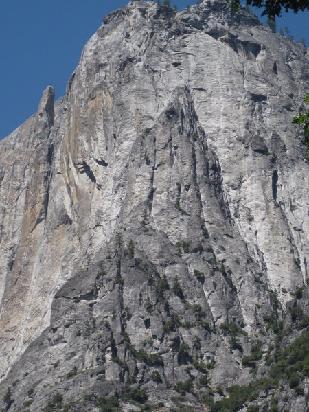"While standing on the Valley floor, the Yosemite Point Buttress just screams to be climbed.  And yet it would be packed with climbers if it were not so loose and demanding.  ""Hey Allen Steck!  Why does this climb have to be so damn hard?"""