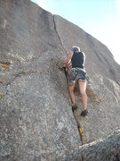 Rock Climbing Photo: Zach onsighting the 5.8 variation of Pumper Number...