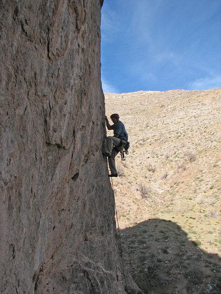 Rock Climbing Photo: Starting up on small holds.  Photo by Zane.
