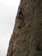Rock Climbing Photo: Walt at the midpoint rap anchors.