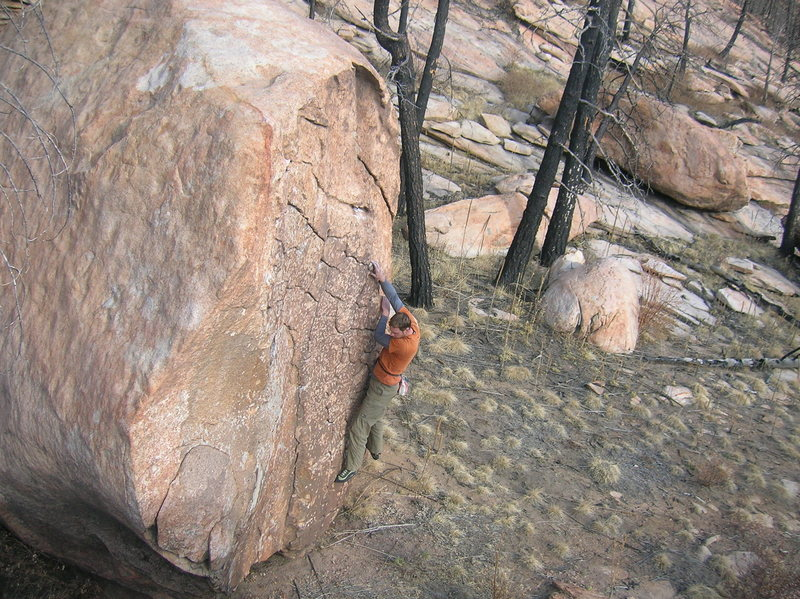 V2s don't get much better than this.  This block could host about 8 problems. <br> <br> The area beneath the brown wall has seen the most developement as far as bouldering goes.  There are beautiful boulders all over the place, put on your adventure hat and find yourself a sweet line.
