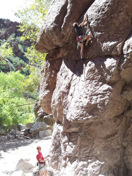 Rock Climbing Photo: Couple guys we met out there.  Serious route, if y...