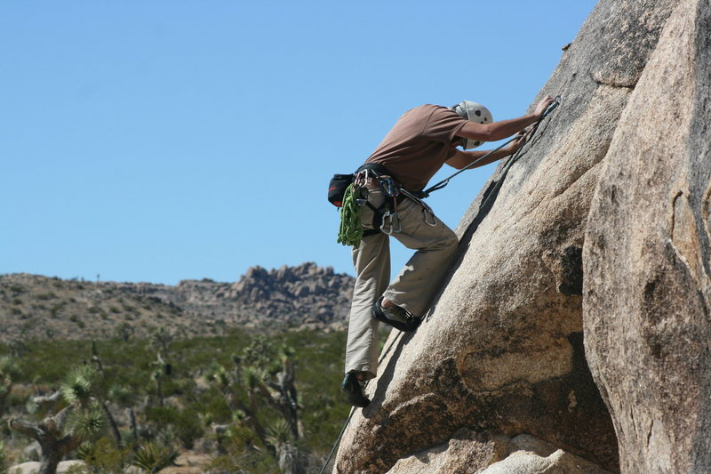 Rock Climbing Photo: Nathan Fitzhugh after making the step out onto the...