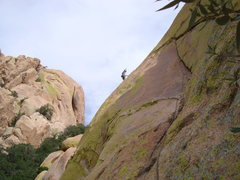 Rock Climbing Photo: Angel on top of the 4th pitch after pulling throug...