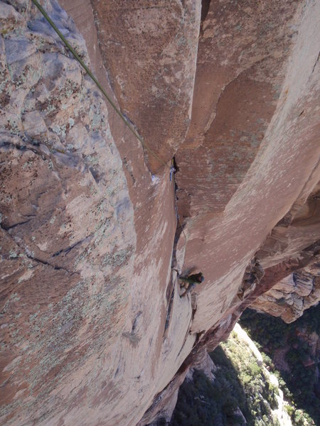 Rock Climbing Photo: Midway up the long 3rd pitch. You can see that the...