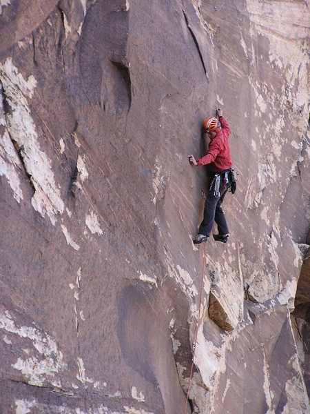Rock Climbing Photo: Josh is setting up for the crux on P1.  On a cold ...
