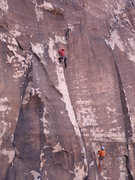 Rock Climbing Photo: Josh is at the end of the powerful 5.11c section o...