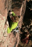 Rock Climbing Photo: Andy leads Red Pulpit. Spicy lead until on the pul...