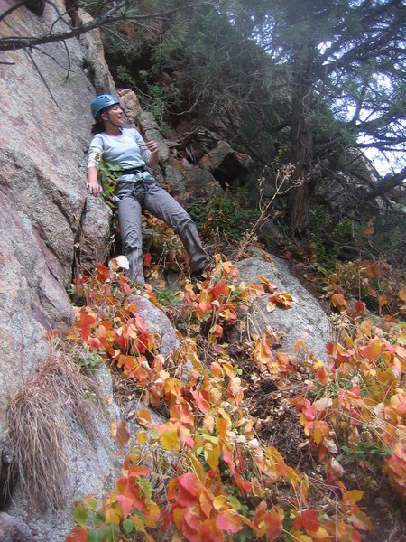 Heather battles invisible, fire-breathing gargoyles on the Cracker Jack / Dubya (W) walkoff ledge on the Crack Tree face.