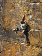Jesper Hilts navigates through some interesting moves just prior to the upper crux