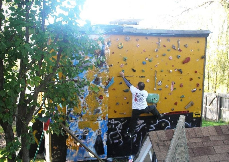 Rock Climbing Photo: Fall bouldering outdoors on my woodie wall.