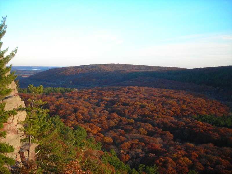 A sea of brown tree tops.  This was the view at the end of the day Halloween 2010 from Devil's Doorway lookout.  Excellent scene to take in at the finish of a 7 crag leading circuit- East Bluff.