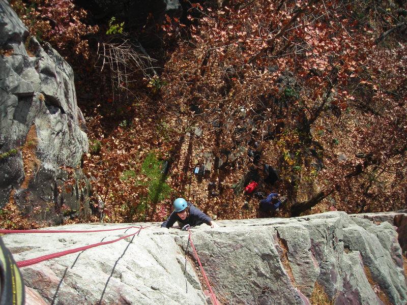 Rock Climbing Photo: Dylan coming up Bishop.