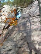 Rock Climbing Photo: Doug leading Mousehole Buttress.  He chose to star...