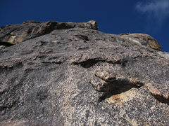 Rock Climbing Photo: Looking up at the second pitch from the first bela...