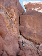 Rock Climbing Photo: Me leading P1 directly below the 5.7 bulge blockin...